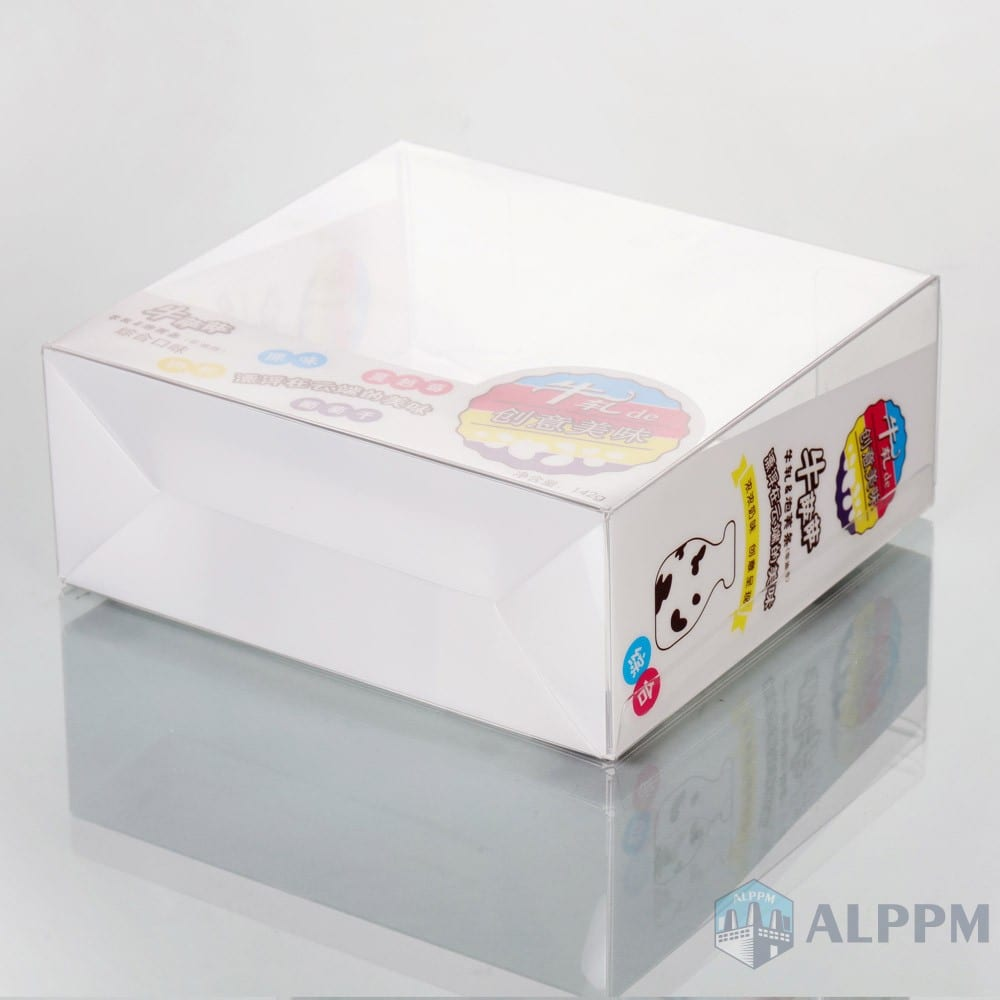 Custom rectangular PVC plastic box for biscuits food cesar pets food