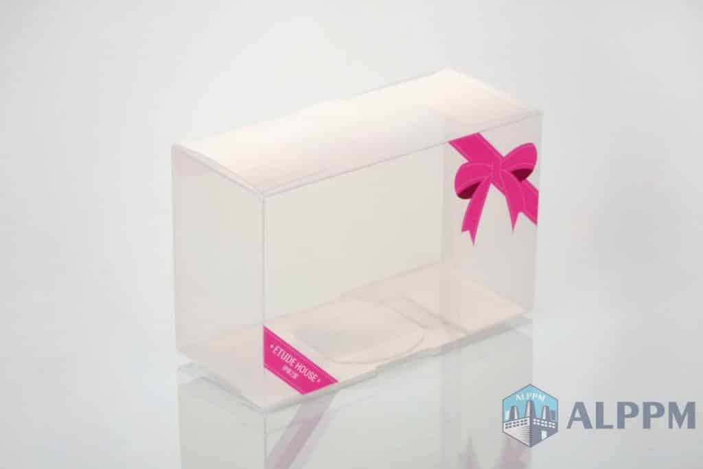 clear plastic folding gift box with pink color