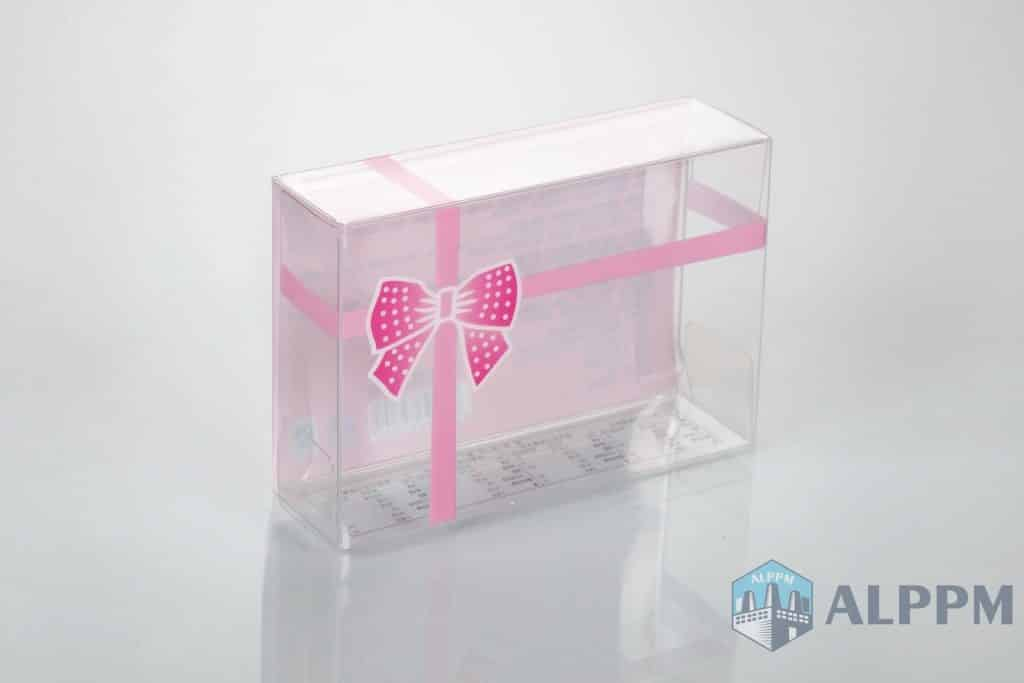 clear plastic gift box with pink color