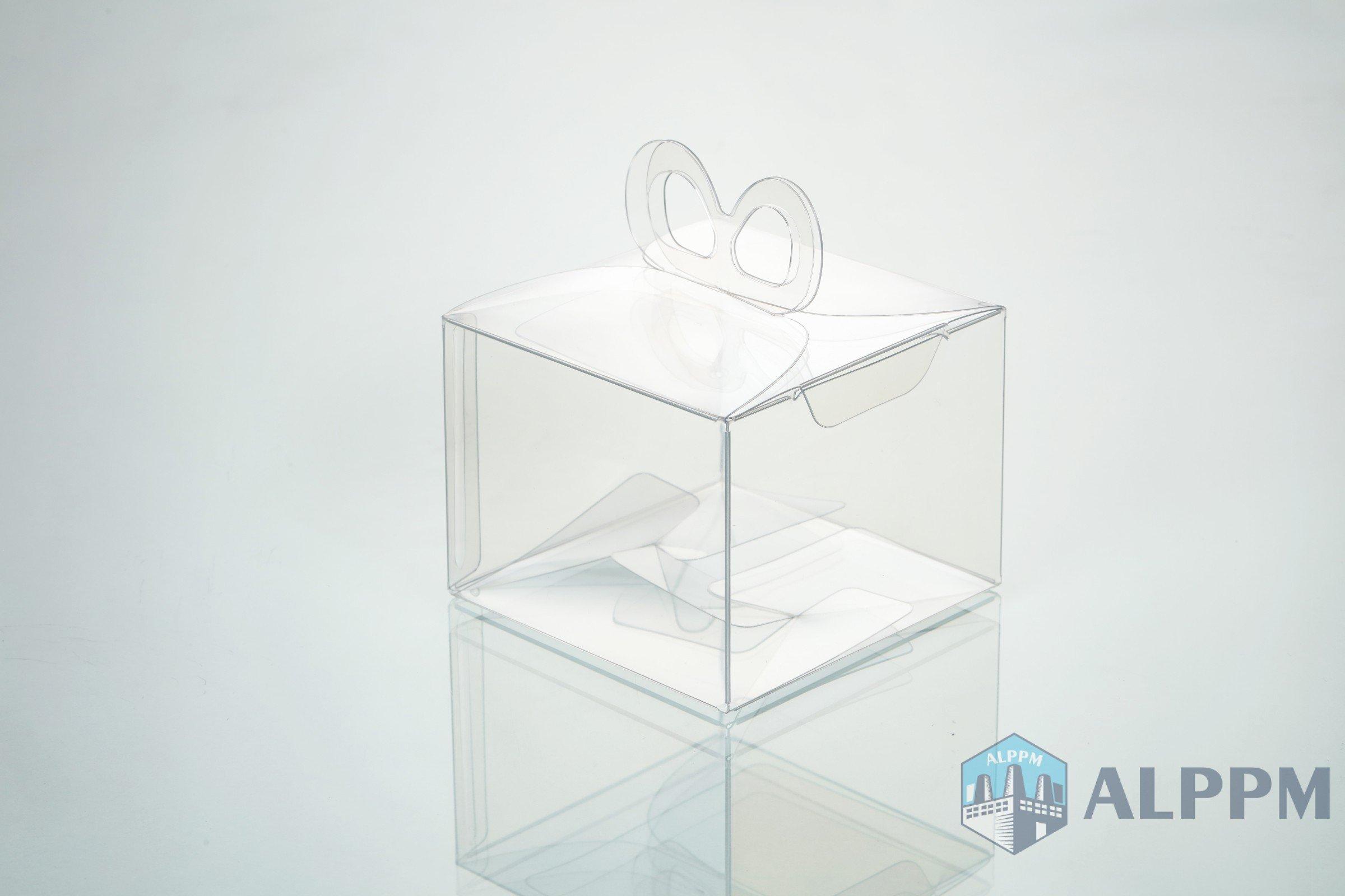 활 모양의 리본 걸이가있는 투명 상자